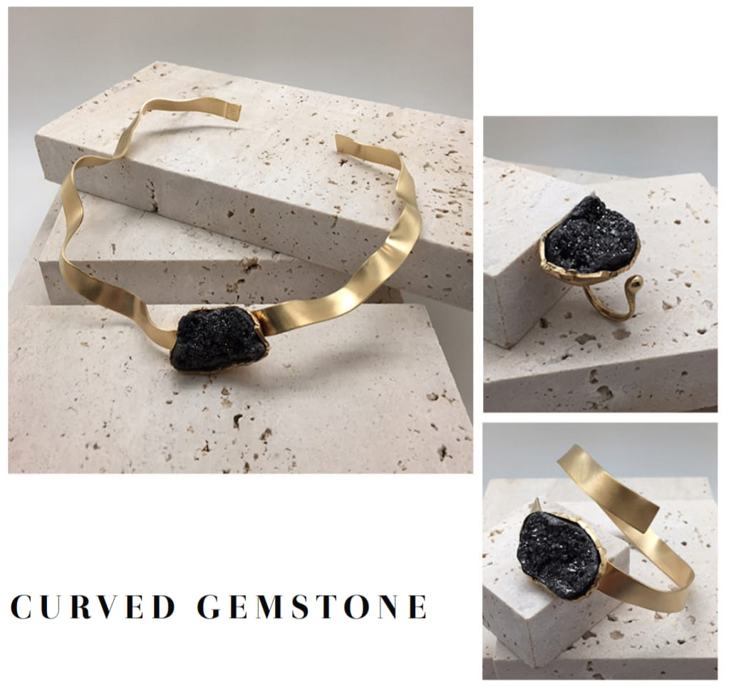 Colier Curved Gemstone