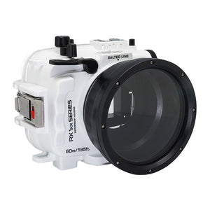 Underwater camera housing waterproof case for Sony RX100 camera series with standard port. White