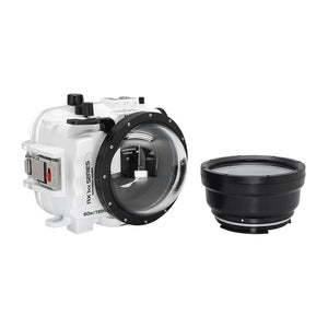 "Underwater camera housing waterproof case for Sony RX100 camera series with 4"" dry dome port and standard port. White"