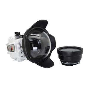 "Underwater waterproof camera housing case for Sony RX100 camera series with 6"" dry dome port and standard port. White"