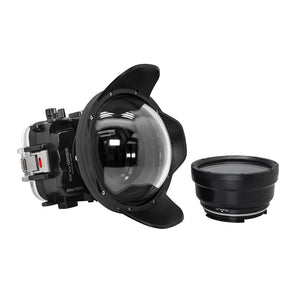 "Underwater waterproof camera housing case for Sony RX100 camera series with 6"" dry dome port and standard port. Black"