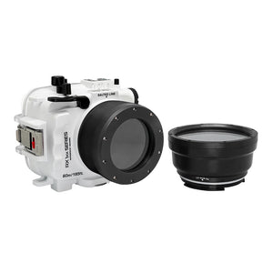 Underwater camera housing waterproof case for Sony RX100 camera series with 67mm threaded macro port and standard port. White
