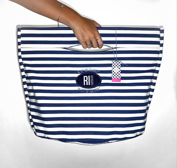 Anchored Heart Blue Striped Tote