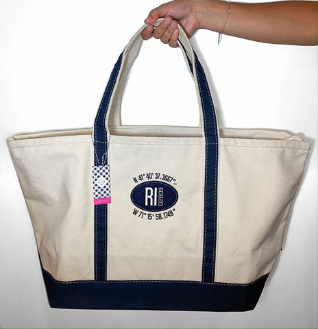 Anchored Heart Lat/Long Boat Tote