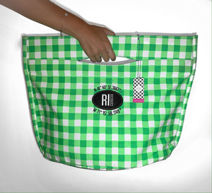 Anchored Heart Green Checkered Tote
