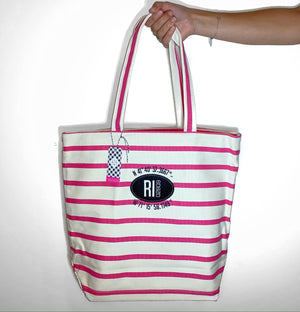 Anchored Heart Pink Striped Tote