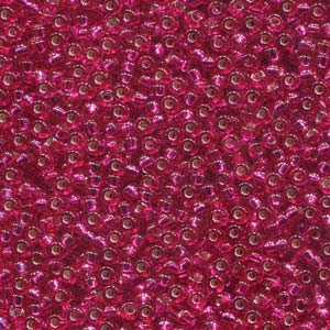 Miyuki M-11-1436  # 11/0 Silver Lined Transparent Raspberry Seed Beads - 5 gm