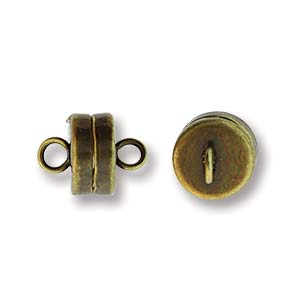 Antique Brass Plate Closed Loop Magnetic Clasps, 7 mm - Pack of 3