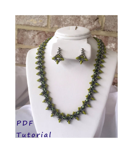 TriStar Necklace and Earrings Set PDF Tutorial/Pattern/Instructions