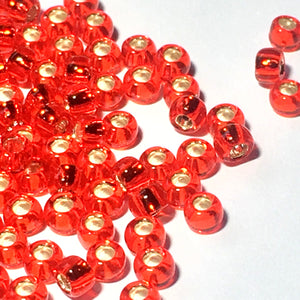 TOHO TR-8-25B   8/0 Silver Lined Ruby Seed Beads, 5 or 10 Grams