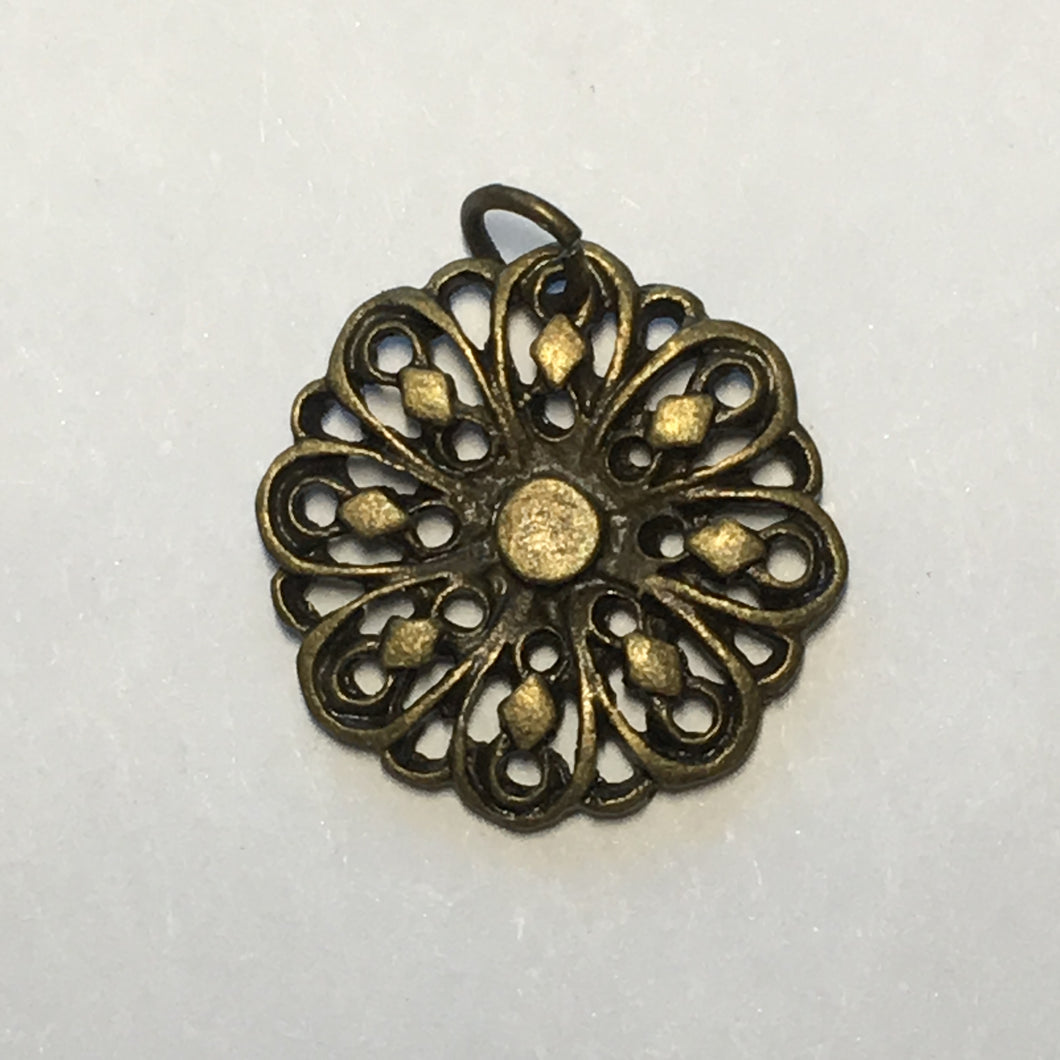 Antique Bronze Flower Charm, 14 mm