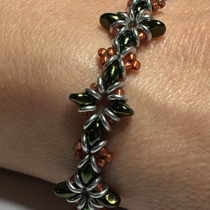 "Bead Kit to Make ""Oh, My Stars! Bracelet"" Jet Red Luster / Copper / Silver with Free E-Tutorial starting at $9.99"