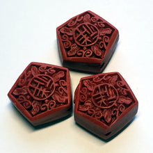 Load image into Gallery viewer, Carved Simulated Red Cinnabar Pentagonal Beads, 18 x 10 mm -  3 Beads