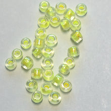 Load image into Gallery viewer, 11/0 Color Lined Yellow Transparent Crystal Seed Beads, 5 gm