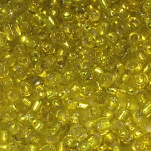Load image into Gallery viewer, 11/0 Transparent Yellow Silver Lined Seed Bead, 5 gm