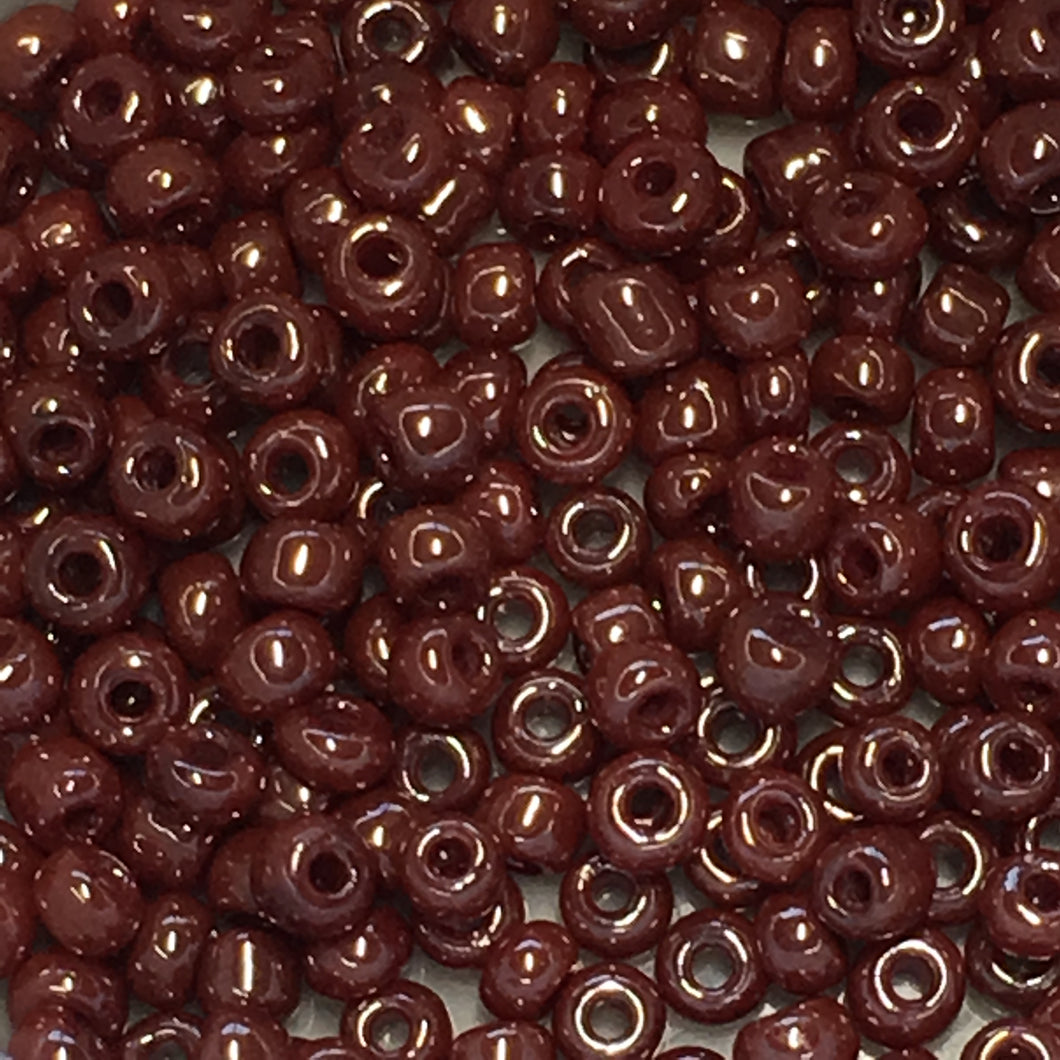 11/0 Opaque Oxblood Luster Seed Beads, 5 gm