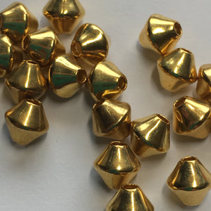 Bright Gold Finish Bicone Beads 6 mm - 20 Beads