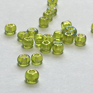 8/0 Transparent Lime Green/Peridot AB Seed Beads, 5 gm