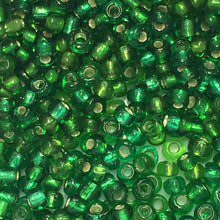 Load image into Gallery viewer, 11/0 Transparent Green Silver Lined Seed Beads 5 gm