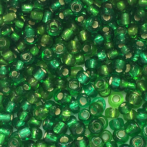 11/0 Transparent Green Silver Lined Seed Beads 5 gm