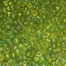Load image into Gallery viewer, 11/0 Transparent Lime Green AB Seed Beads, 1.8 or 5 gm