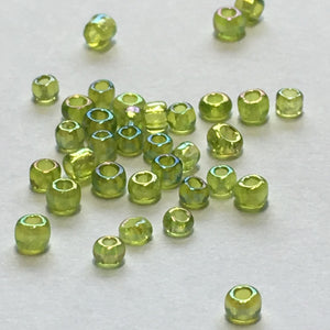 11/0 Transparent Lime Green AB Seed Beads, 1.8 or 5 gm