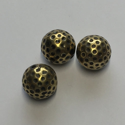 Vintage Antique Gold Dimpled Round Metal Beads, 14 mm, 3 Beads