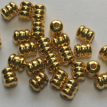 Load image into Gallery viewer, Bright Gold Finish Corrugated Barrel Beads 5 x 4 mm - 25 Beads
