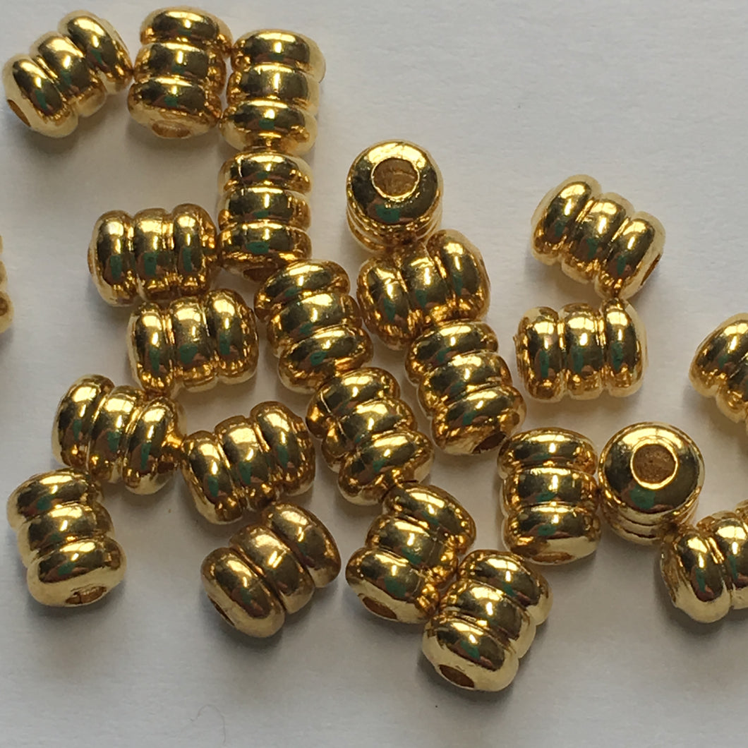 Bright Gold Finish Corrugated Barrel Beads 5 x 4 mm - 25 Beads