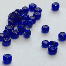 Load image into Gallery viewer, 11/0 Cobalt Blue Silver Lined Seed Beads, 5 gm