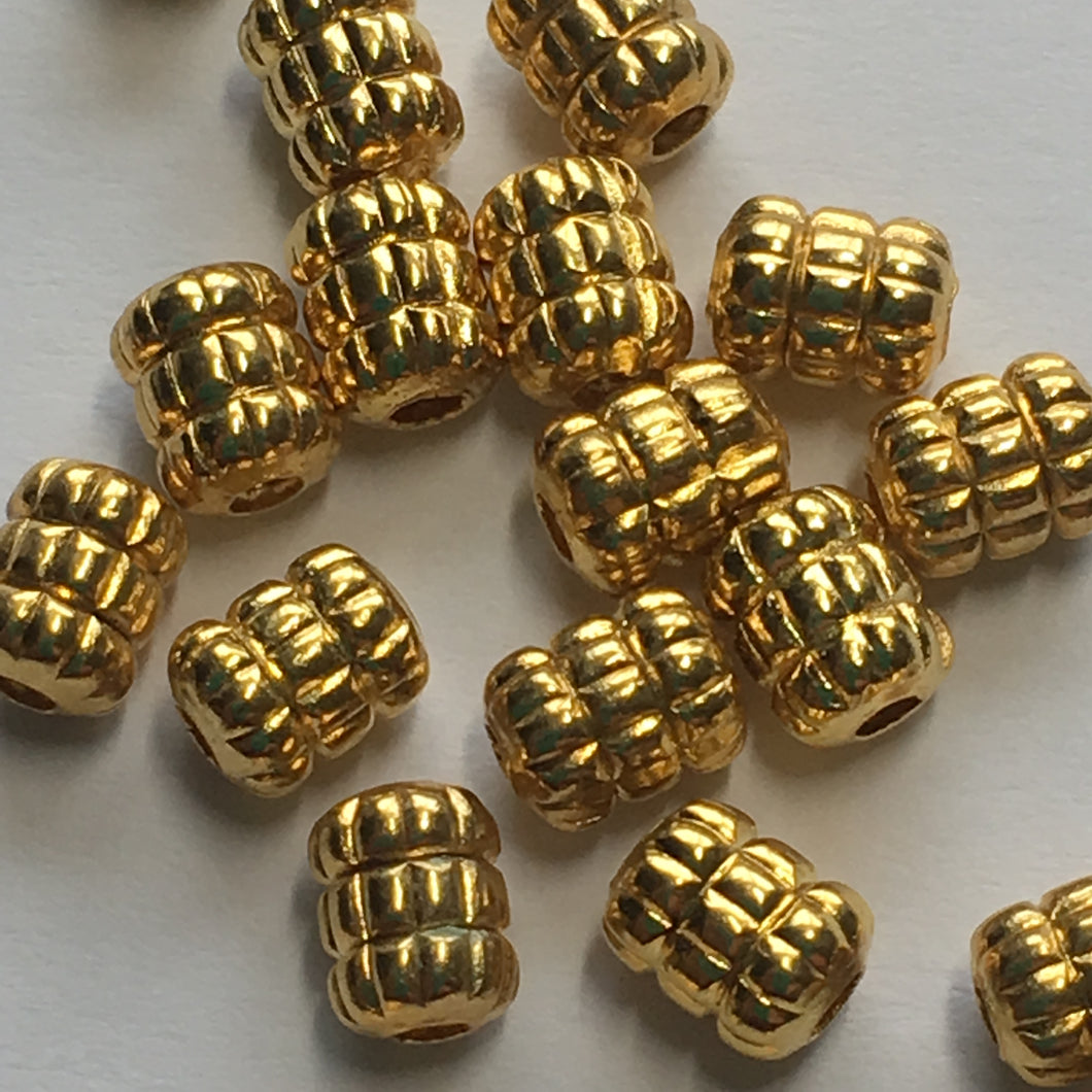 Bright Gold Finish Double Corrugated Barrel Beads 5 x 4 mm - 21 Beads