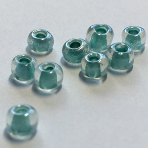 6/0 Sparkle Aqua Green Lined Crystal Seed Beads, 4.8 gm
