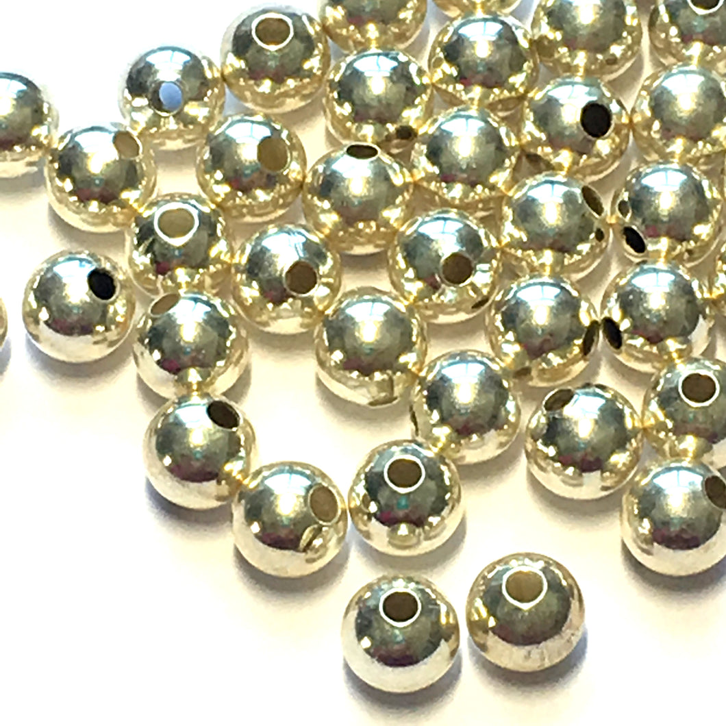 Silver Plated Metal Round Beads, 6 mm - 42 Beads