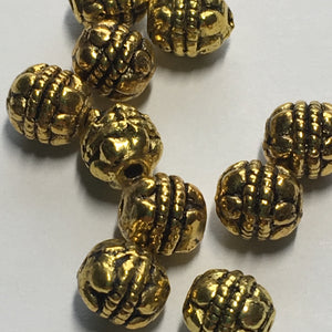 Antique Gold Bali Style Round Beads, 6 x 5 mm - 10 Beads