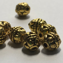 Load image into Gallery viewer, Antique Gold Bali Style Round Beads, 6 x 5 mm - 10 Beads