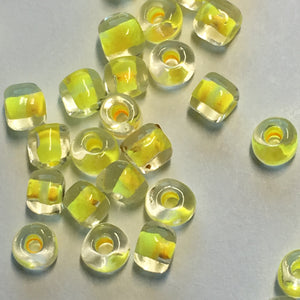 TOHO TR-6-349  6/0 Color Lined Yellow Clear Seed Beads, 5 or 10 gm