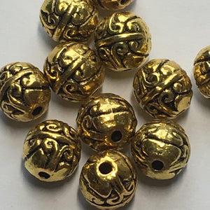 Antique Gold Finish Bali Style Round Beads 8 x 7 mm - 10 Beads