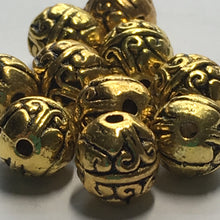 Load image into Gallery viewer, Antique Gold Finish Bali Style Round Beads 8 x 7 mm - 10 Beads