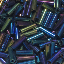Load image into Gallery viewer, Blue Iris Glass Bugle Beads, 5 mm - 5 gm