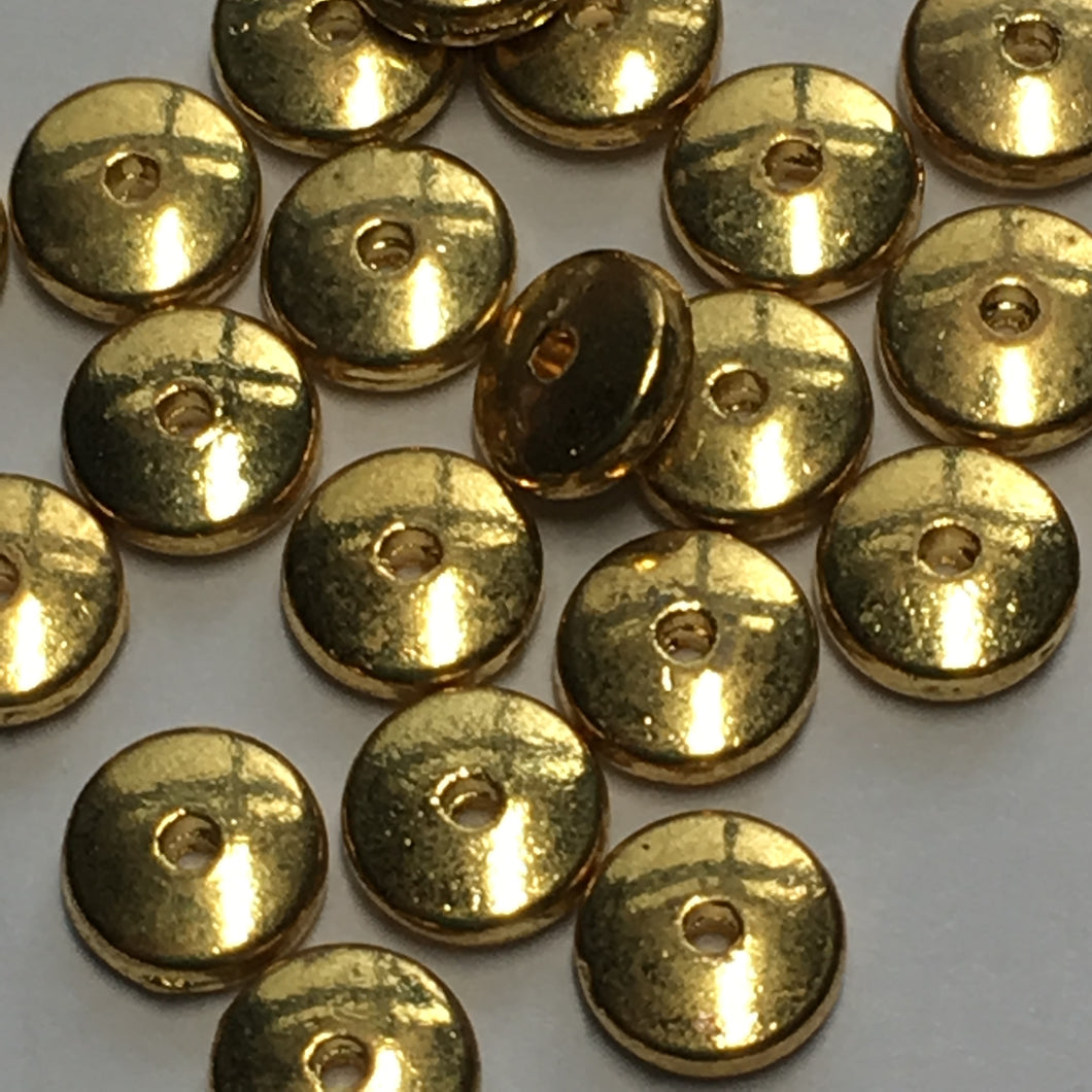 Gold Disc Saucer Spacer Beads, 5 mm- 26 Beads