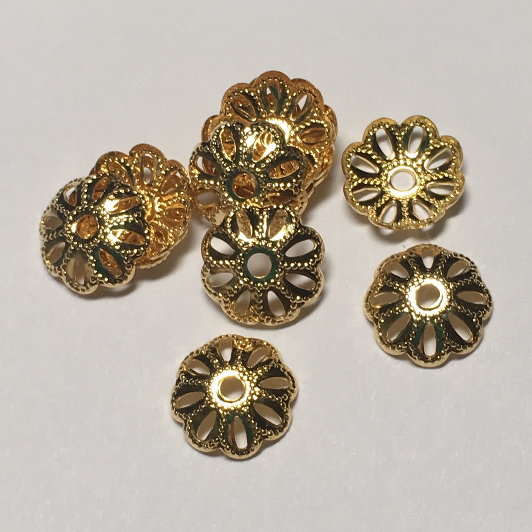 Gold Plated Filigree Bead Caps, 9 mm  - 12 Caps