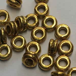 Gold Double Ring Spacer Beads, 6 x 3 mm - 22 Spacers