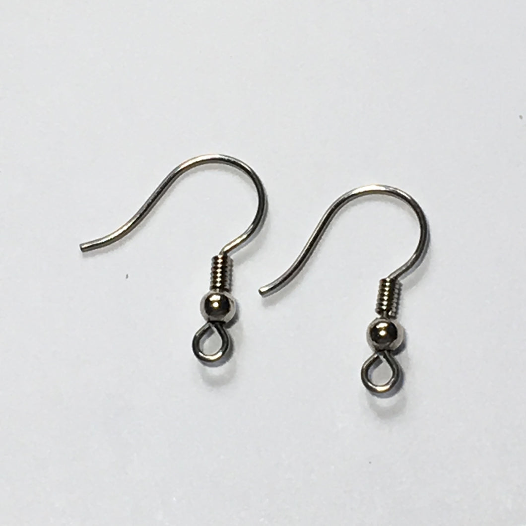 21-Gauge 15 mm Stainless Steel Hypoallergenic French Fish Hook Ear Wires - 1 Pair