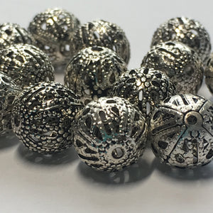 Antique Silver Filigree Beads Round, 8 mm - 12 Beads