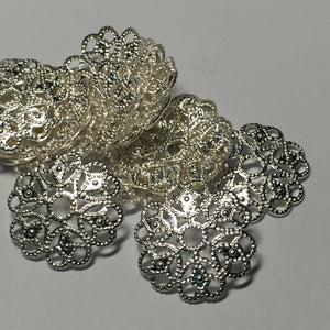 Bright Silver Filigree Metal Bead Caps, 16 mm  - 18 Caps