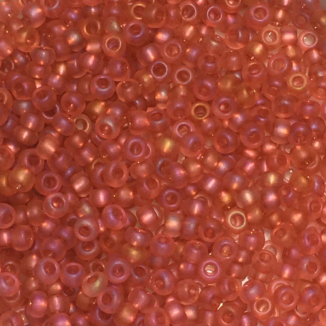 Preciosa 11/0 07122M Czech Deep Rose Transparent Matte Iris Seed Beads, 5 or 10 gm