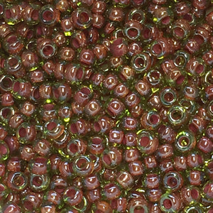 Preciosa 11/0 051228 Color Lined Red Transparent Peridot Seed Beads, 5 gm