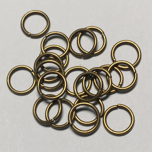 6 mm 21-Gauge Antique Gold/Bronze Unsoldered Split 0.71 mm Plated Iron Jump Rings - 20 Rings