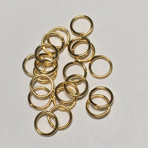 6 mm 21-Gauge Gold Unsoldered Split 0.71 mm Plated Iron Jump Rings, 20 Rings