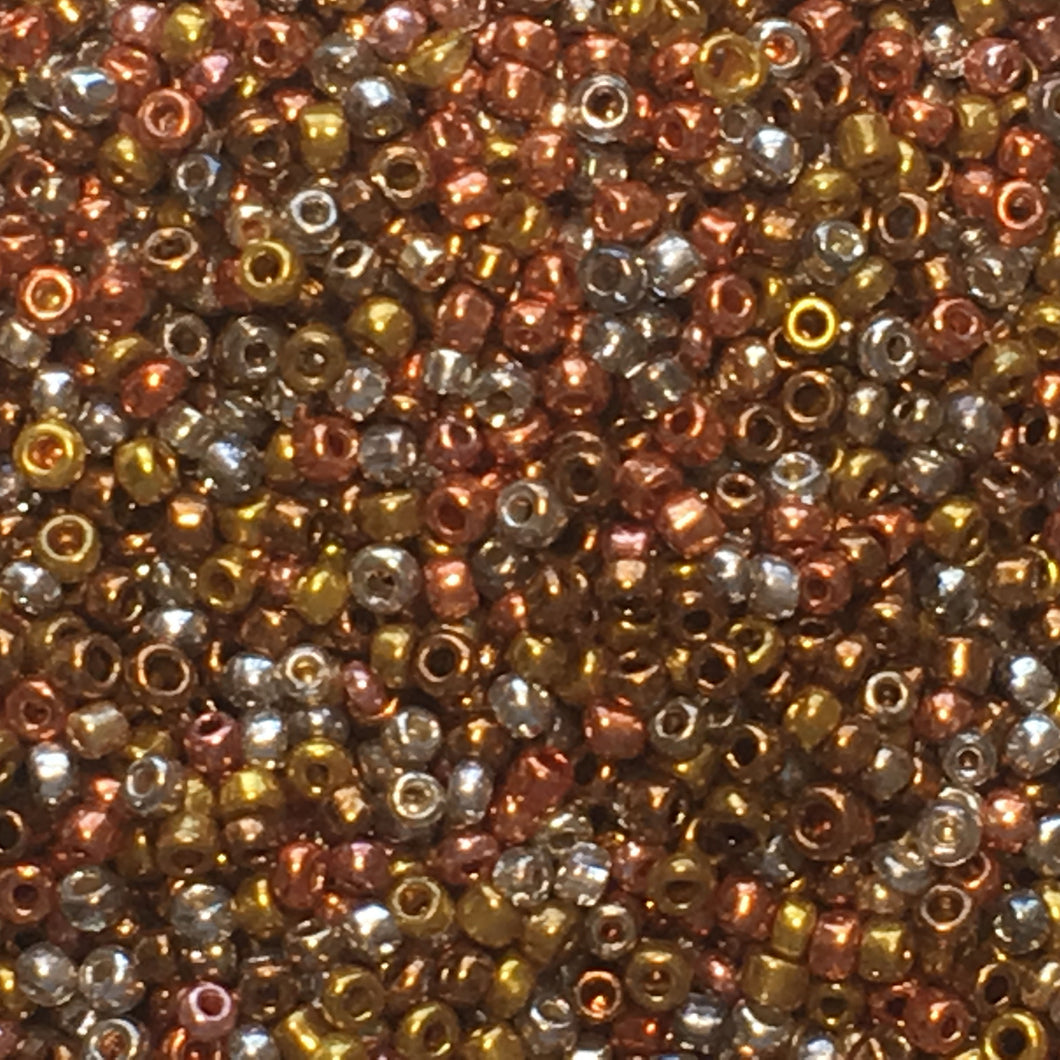 11/0 MIX Copper, Gold, Brass, Silver, Silver Lined Crystal Seed Beads, 5 gm